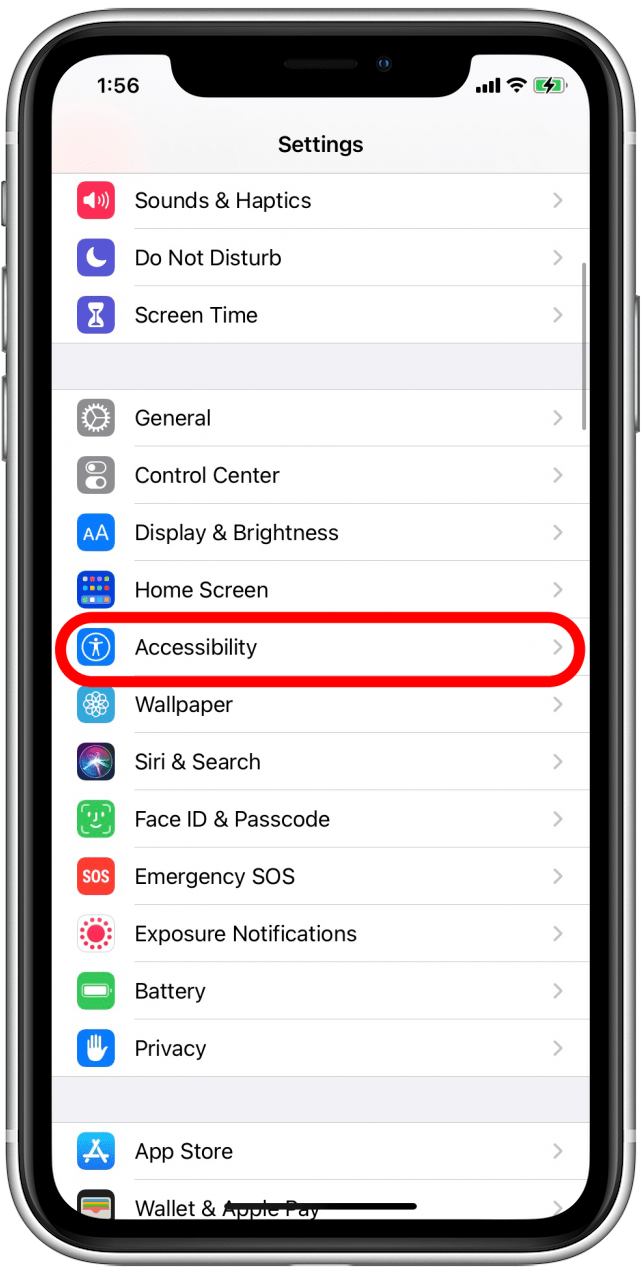 Tap on Accessibility