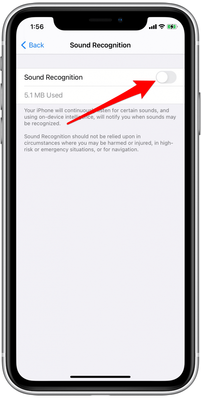 Tap the toggle to enable Sound Recognition alerts