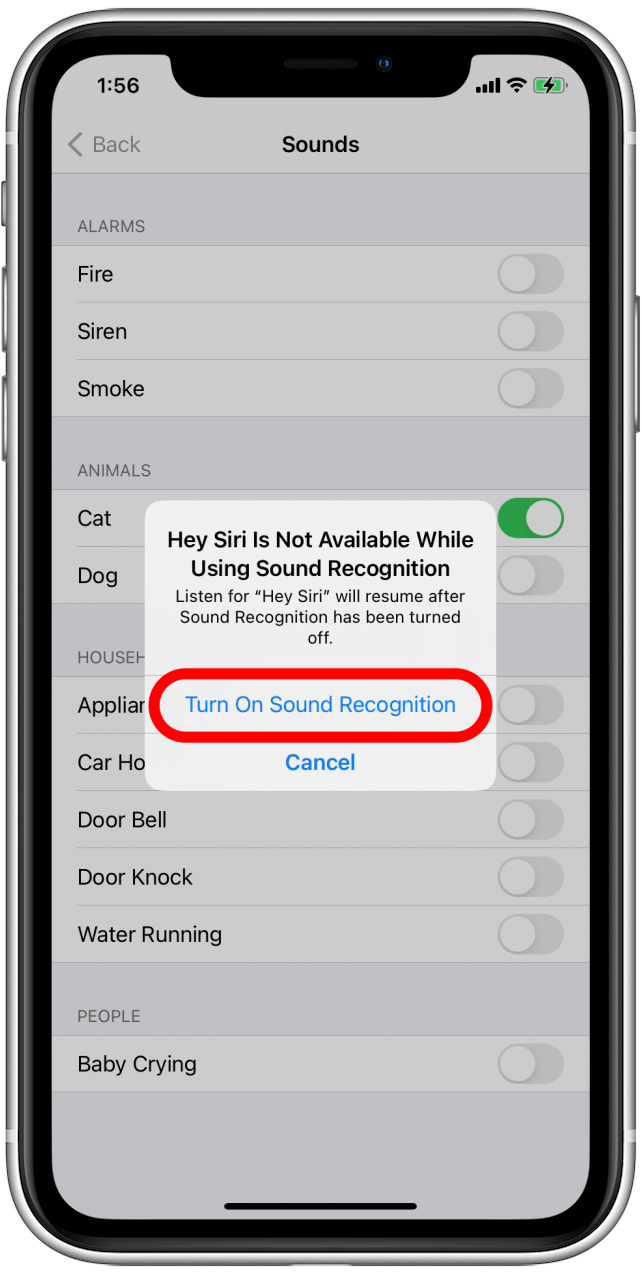 Tap Turn On Sound Recognition