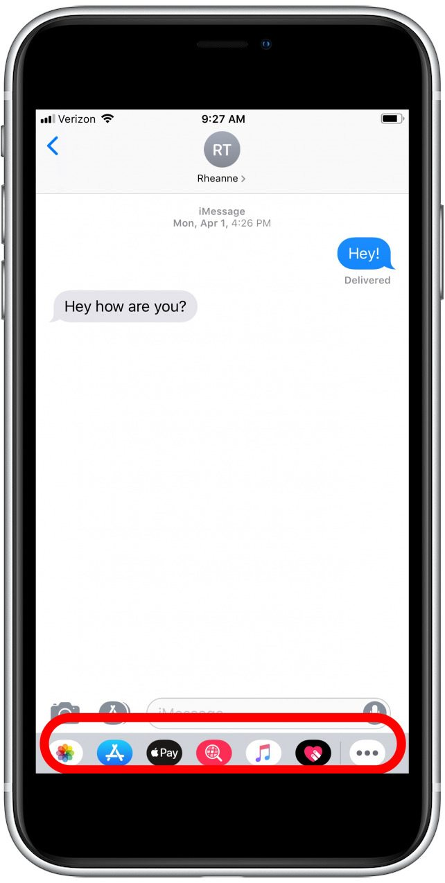 a message in the messages app with the App bar highlighted