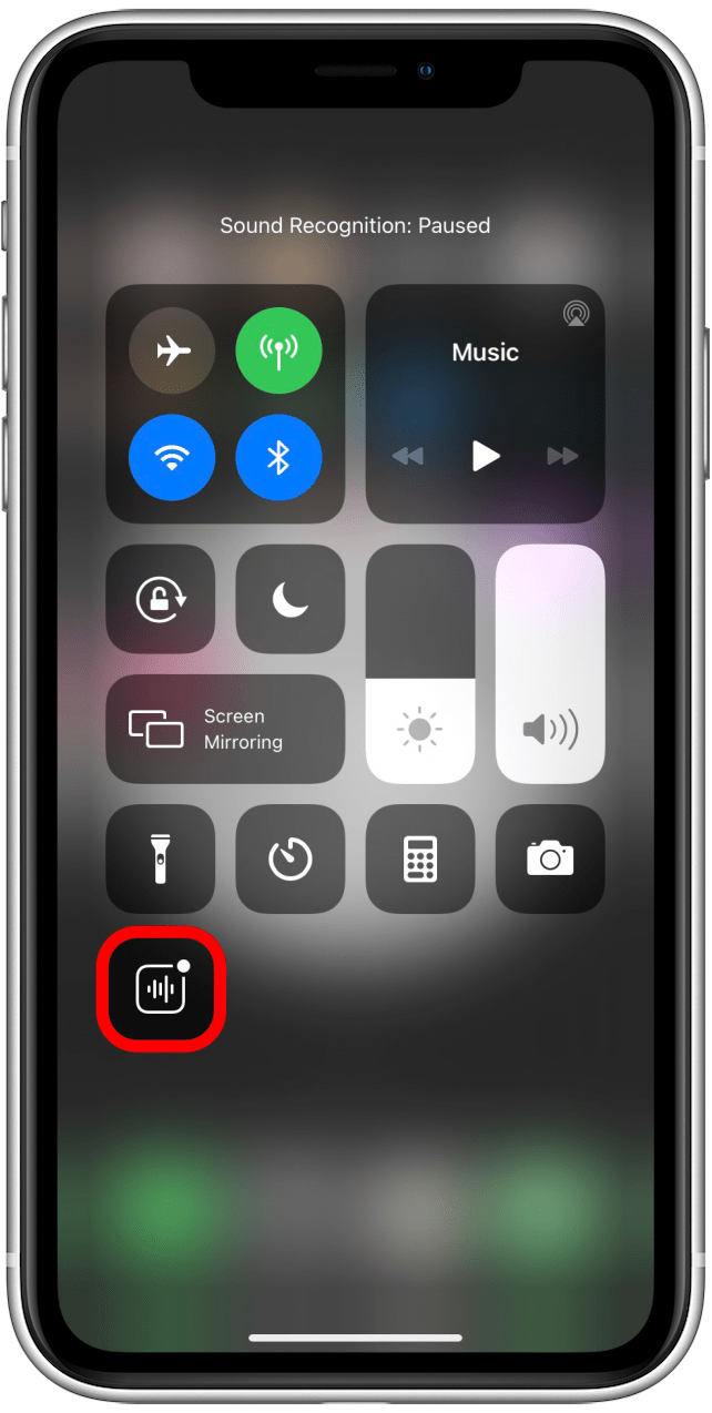 Sound Recognition icon is gray when the feature is turned off