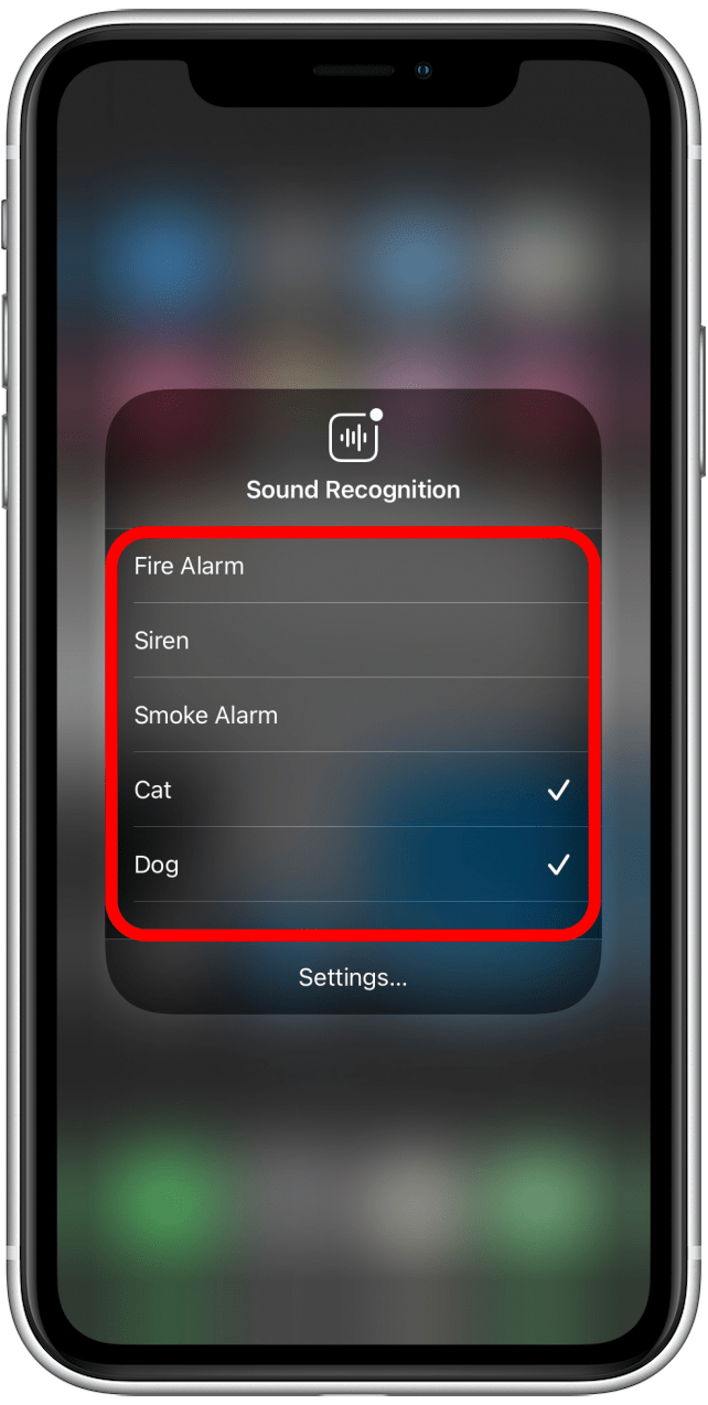 Tap the sounds to select or deselect them
