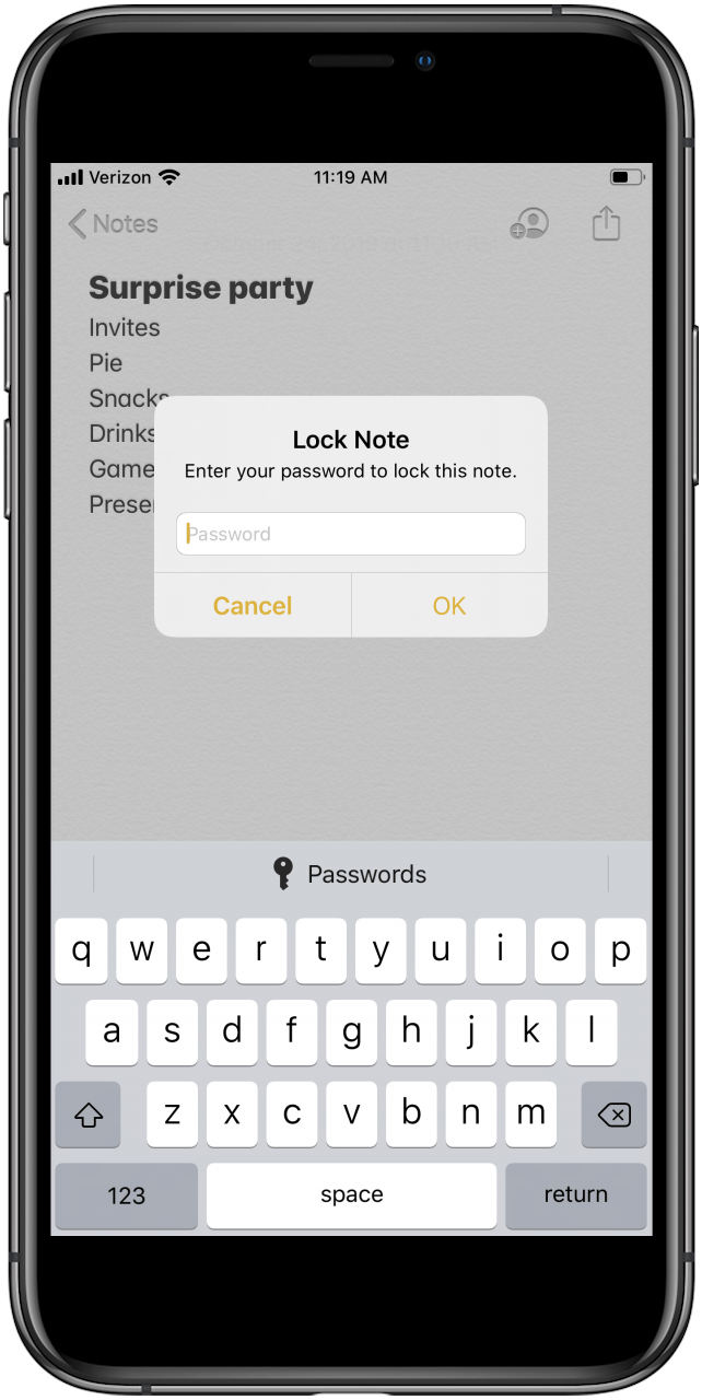 password protect notes