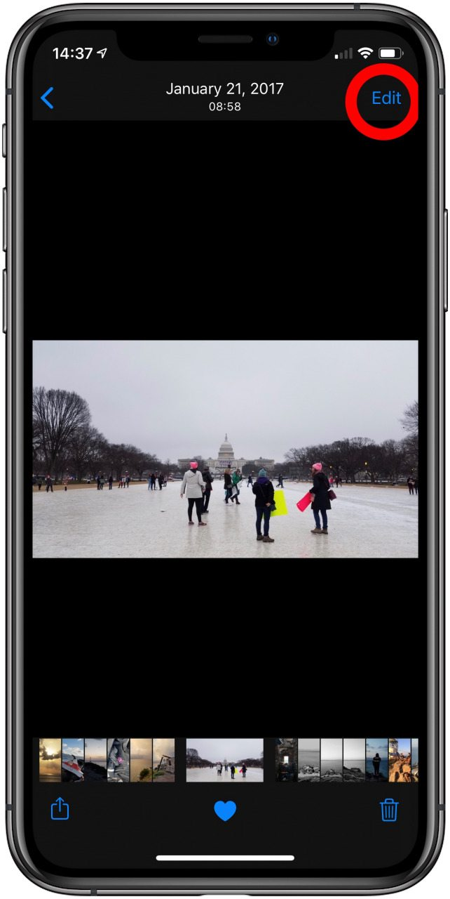 An image in the photos app with the edit option highlighted