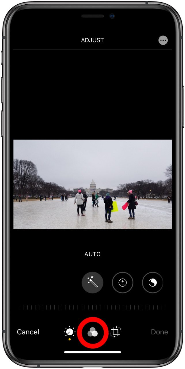 The edit image screen in the photos app with the filters option highlighted
