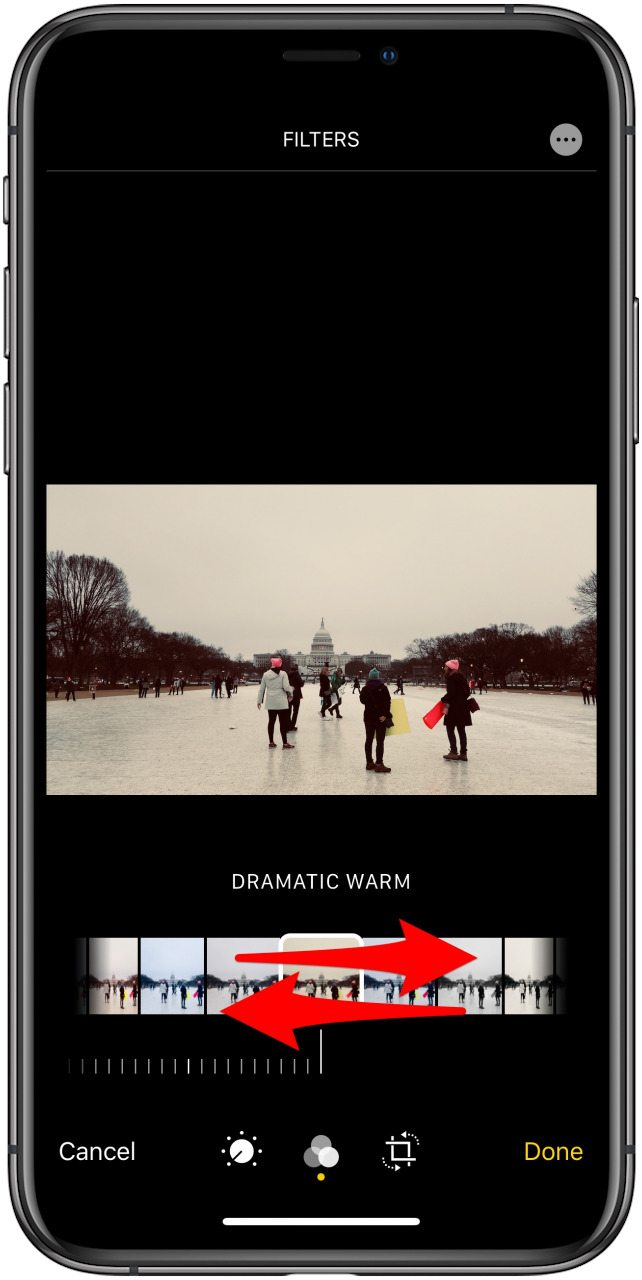 the select filter screen in the photos app with indicators for how to swipe to select a filter