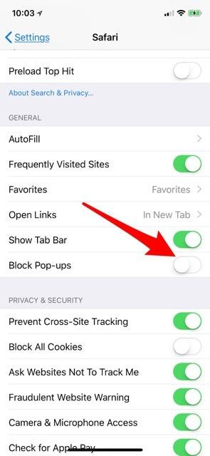 how to block pop ups on safari