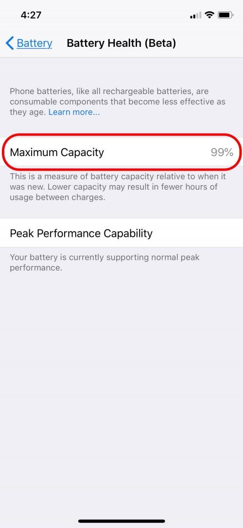 maximum battery capacity