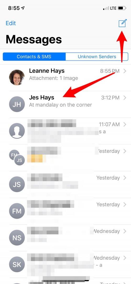 start a text message